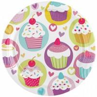 8 Kartonteller 23cm Cupcake
