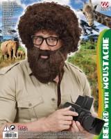 Brauner Schnauz-Bart mit Mundöffnung