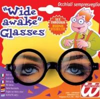 Scherzbrille mit offenen Augen