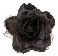 Schwarze Rosen-Haarspange
