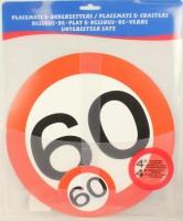Verkehrsschild Untersetzer - Set 60 Jahre