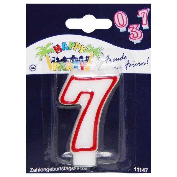 Zahlenkerze 7 rot