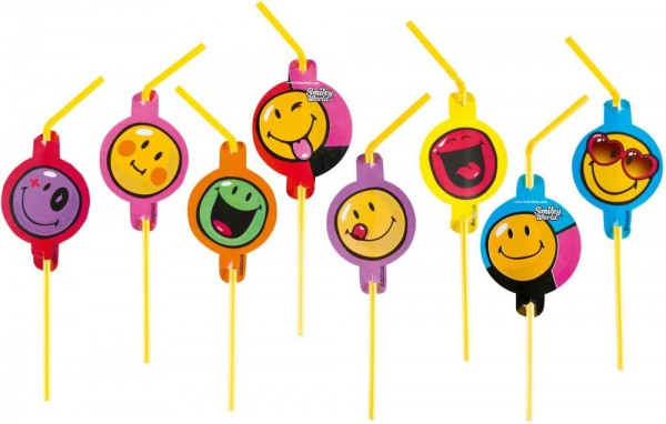 8 Trinkhalme Smiley