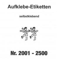 Aufklebenummern für Gabentisch 2001-2500