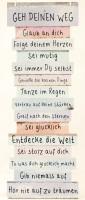 Holz Bild Spruch Lebens- einstellung mit Schnur 15x41cm