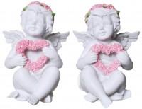 Engel mit Rosen- Herzkranz sitzend 11cm 2xsort