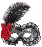 Schwarze Dominomaske mit Feder und Rose