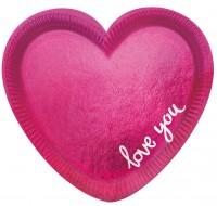 Einweg Teller Love You pink glanz 6 Stk. 20cm