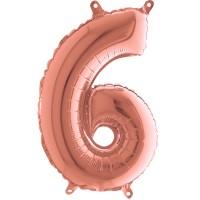 Silberfolienballon rose gold, Zahl 6