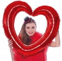 Silberfolienballon Herz rot