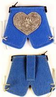 Lederhosen-Geldbörse mit Edelweiss blau