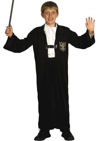 Kostüm Zauberer Grösse M 7-9 Jahre, schwarze Robe