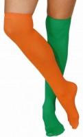 Grün-orange Überkniestrümpfe