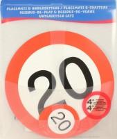 Verkehrsschild Untersetzer - Set 20 Jahre