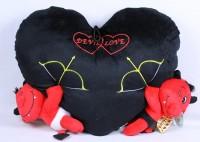 Plüsch Herz schwarz mit 2 Teufeln 40cm Devil Love