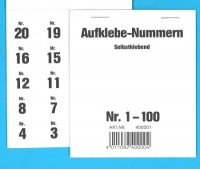 Aufklebenummern für Gabentisch 1-100