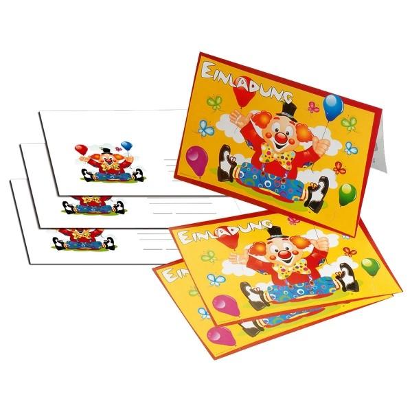 8 Einladungskarten Clown