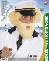 Blonder Schnauz-Bart mit Mundöffnung
